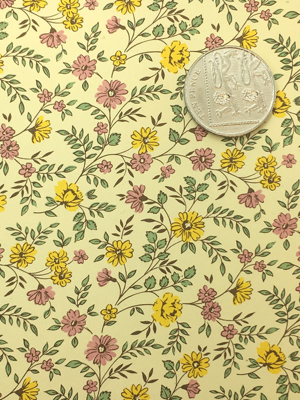 Wrapping paper from Florence in Italy with an intricate, yellow, floral design. Perfect for gift wrap or for crafts.