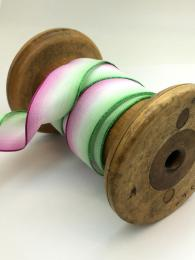 Beautiful ombre ribbon with colours of purple, white and green, perfect for wrapping gifts or crafts