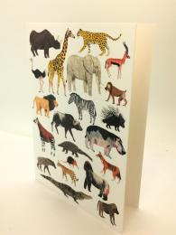 A fun greetings card, featuring illustrations of safari animals, blank inside for your own message.