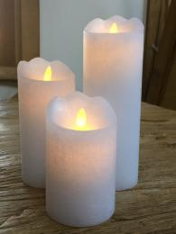LED Flicker Pillar Candle Broste real wax rustic look