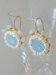 Mandala Aquamarine Earrings 033 Ottomania Jewellery Sally Bourne Interiors Semi Precious Gemstone Goldfill Gold and Silver