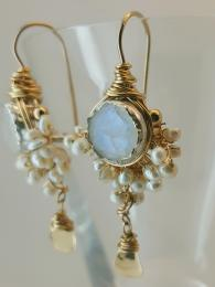 Goddess Earrings Moonstone and Pearls Silver Gold fill Semi Precious Stone UK