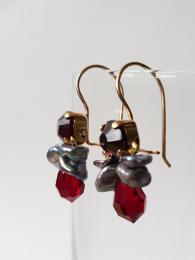 Bee Earrings Red Crystal Dark Pearls Ottomania Jewellery Sally Bourne Interiors