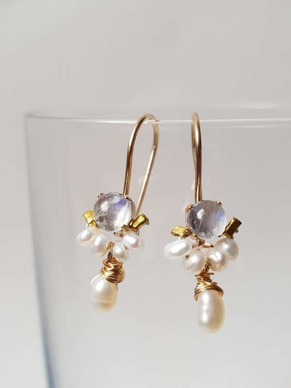 Moonstone and Pearl Mini Earrings Ottomania Jewellery Sally Bourne Interiors London
