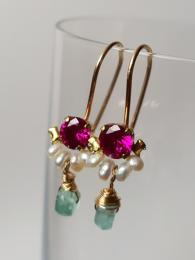 Dancer Earrrings Fuchsia Crystal and Pearls Ottomania Jewellery Sally Bourne Interiors
