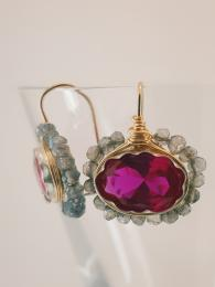 Oval Mandala Earrings W/ Fuchsia Crystal Silver Goldfill Semi Precious Stone UK