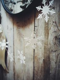 White Snowflake Garland East Of India Christmas Decorations