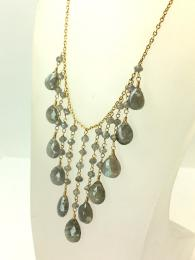 A stunning statement necklace, dripping with labradorite droplet gemstones