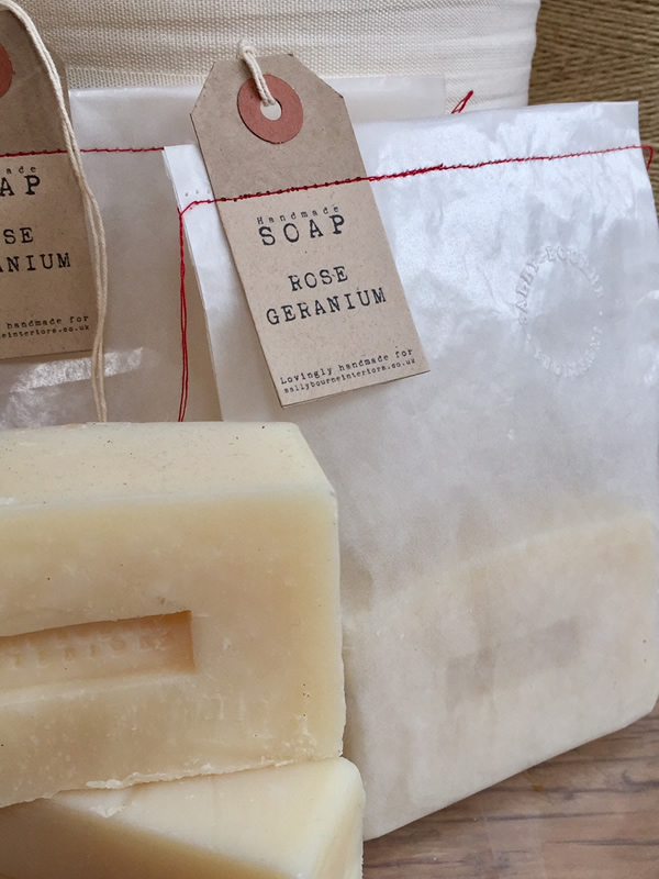 Handmade Sally Bourne Interiors Rose Geranium Scented Soap Exclusive organic devon clovelly