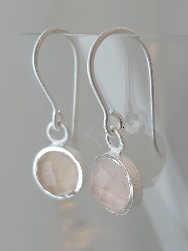 Pomegranate Jewellery small Silver Drop Earrings Rose Quartz Gemstone silver gold plate jewelry London Muswell Hill