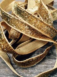 STEPHANOISE GLITTER GOLD RIBBON 7453 10MM 03 GIFT WRAP CRAFTS INTERIORS