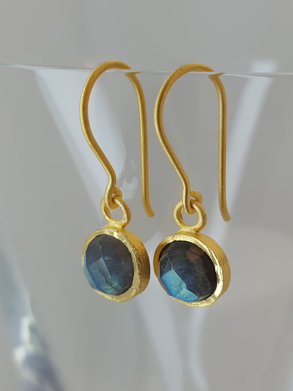 Pomegranate Jewellery small gold plate Drop Earrings Labradorite Gemstone silver gold plate jewelry London Muswell Hill