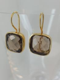 Pomegranate Jewellery Smoky Quartz Candy Drop Earrings Sally Bourne Interiors London Jewelry Gemstone Silver Gold plate