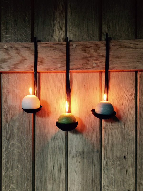 Wrought Iron Spoon Candle Holder Sally BOurne Interiors