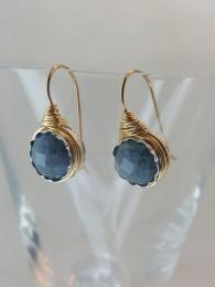 Wire Aquamarine Earrings Jewellery Jewelry Sally Bourne Interiors London Muswell Hill semi precious gemstones