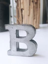 Zinc Letter B Grey 3D Sally bourne interiors gift ideas